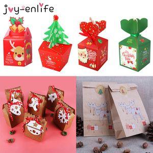 Merry Şeker Kutuları Noel Santa Kardan Adam Kağıt Kutusu Hediye Çanta Konteyner Malzemeleri Natal Noel Kerst 2020 Q1218