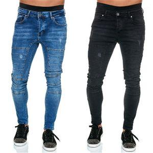 Jeans Man Folds Jeans Fashion Trend Low Waist Casual Zipper Denim Trousers Designer Male Light Wash Frayed Elastic Skinny
