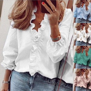 Blouses Plus Size Pullover Lantern Sleeve Ladies Tops Autumn Fashion V Neck Shirts For Women Loose Ruffle Womens