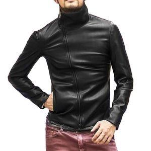 남자 가죽 가을 워프 라인 재킷 바이커 오토바이 지퍼 outwear 따뜻한 코트 ==================
