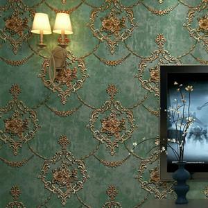 European Pastoral Damask 3D Floral Wallpaper For Walls Bedroom Living room Decor Embossed Pink Purple 3D Flower Wall paper Rolls