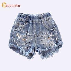 Babyinstar denim 2020 niños de verano niños vaquero perla agujero ropa chicas jeans pantalones cortos y200704
