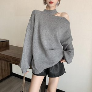 2020 new autumn fashion round neck hollow shoulder full sleeves knits pullover sweatshirt female top WK33602