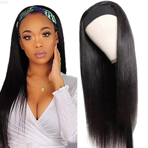 Brazilian Straight Human Hair for Black Women Affordable Pre-Attached Scarf Full Machine Made Headband Wig