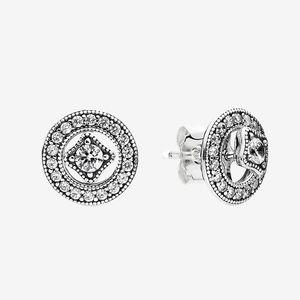 أصيلة 925 الفضة الاسترليني حلق تشيكوسلوفاكيا الماس المرأة هدية الزفاف ل خمر دائرة أقراط مع مربع مجموعة