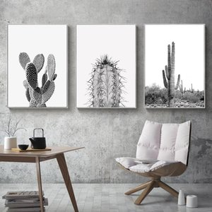 Modern Minimalist Wall Art Succulent Cactus Canvas Painting Green Pictures Black Posters and White Prints for Living Room Decor