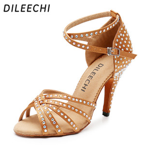 DILEECHI Bronze Black Satin Latin dance shoes Women Rhinestones Ballroom dancing shoes Salsa Party Sandal shoes high heel 10cm 201017