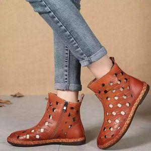 Summer Spring Women Sandals Boots Platform Flat Ankle Hole hole 2020 Fashion ZIP hollow Ladies Shoes