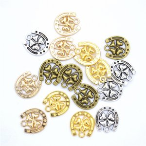 300pcs Charms Horseshoe Lucky Clover 16x15mm Antique Making Pendant Vintage Tibetan Bronze Silver Gold KC gold color,DIY Handmade Jewelry