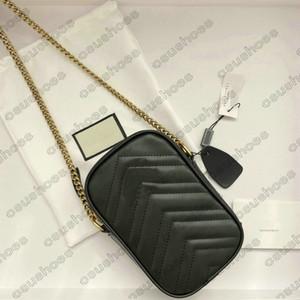 Marmont Mini Correntes Cross Body Bag Couro Coração Embossed Metal letra Celular Bolso Bolsa Bolsa Carteira 598597