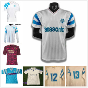Pre-Sell Retro Olympique de Marseille 1990 91 Soccer Jerseys Papin Boli Cantona Waddle Pelé Vintage Kit Classic Shirt