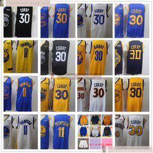 2020 Yeni Siyah İl Basketbol Stephen Klay 30 Curry 11 Thompson Jersey Dikişli Beyaz Sürümü İl İyi Kalite Sarı Formalar Kısa Kazanılan