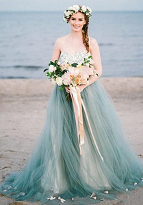 Pale Blue Boho Beach Wedding Dresses A Line Sweetheart Strapless Long Summer Bohemian Bridal Gowns 2021 Back Lace-up Plus Size Wedding Dress