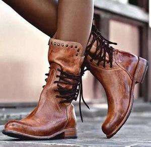 BLWBYL Femmes Matin Matin Bottes Dames Chaussure Girl Vintage Cuir PU Cuir Bottillons Chaussures Femme Chaud Dentelle à lacets # M13V