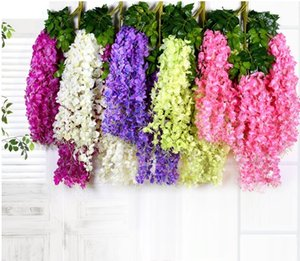 Artificial ivy flowers Silk Flower Wisteria Vine flower Rattan for Wedding Centerpieces Decorations Bouquet Garland Home Ornament 110cm