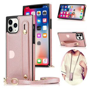 Lanyard Case for iPhone 12 Pro Crossbody Strap PU Leather Soft TPU Back Phone Cover for iPhone 12 Mini 12 Pro Max 11