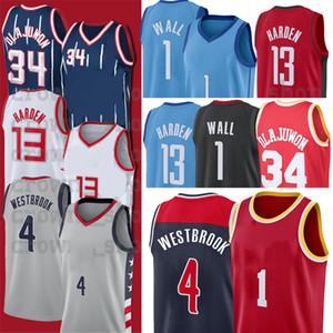 1 John 4 Westbrook 13 Wall 34 Hakeem Harden Olajuwon Russell City NCAA 농구 유니폼