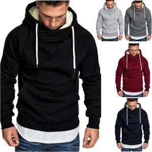 Männer Stickerei Splicing Hoodies Modetrend Teenager Langarm Solid Color mit Kapuze Tops Designer Male Winter New Fleece PulloverHoodies