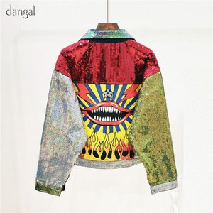 New Woman Jeans Short Sequins Red Lips Top Sequined Coat Letters O-Neck Out Wear Women College Jacket 201103