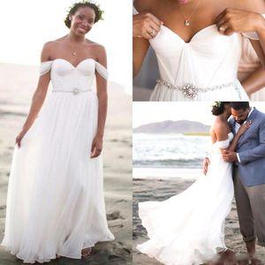 Romantic Chiffon Beach Wedding Dresses Pleated Off The Shoulder 2016 Summer Long Bridal Dresses Bohemian Boho Wedding Gowns With Beaded Belt