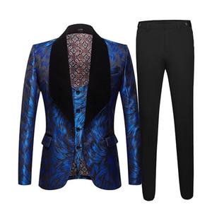 Moda Uomo Big scialle risvolto 3 Suits pezzi Set Rosa Rosso Blu Bianco Nero da sposa sposo qualità jacquard Banquet smoking LJ201006