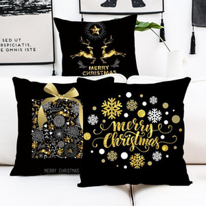 Merry Christmas Ornament Black Gold Pillowcase Christmas Decoration For Home 2020 Navidad Xmas Gift Cristmas Deco Happy New Year sqcuTw