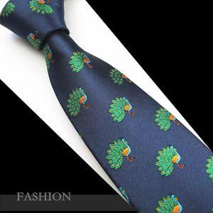 RBOCOAnimal Tie Mens Novelty Silk Jacquard Ties 7cm Peacock Neck Ties Men's Black Neck Tie Dragonfly Blue Necktie For Wedding