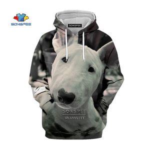 SONSPEE Funny Dogs Bull Terrier Men Hooded Hoodies 3D Print Pit Bull Dogs Sweatshirt Women Harajuku Casual Unisex Clothing Tops 201020