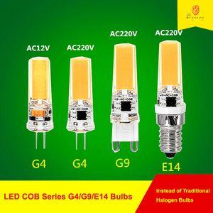 10PCS lot LED COB G4  G9  E14 Bulbs 12V  220V Lamp Bulbs for Spotlight Chandelier Hanging Lighting Fixture Replace Halogen Bulb Free Ship
