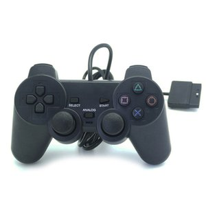 PS2 السلكية وحدة تحكم التعامل مع اهتزاز الوضع العليا لعبة الجودة تحكم المقود قابل للتطبيق المنتجات PS2 المضيف اللون الأسود