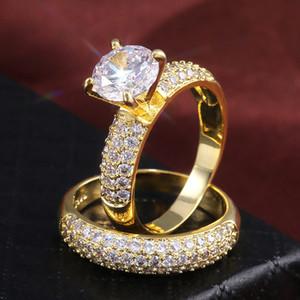2PCS Set Yellow White Gold Plated Bling CZ Diamond Rings for Men Women Nice Gift for Party Wedding Nice Gift