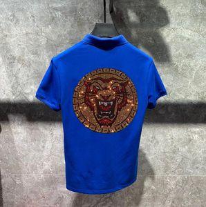 Hot Drill Men Size Shirt 4XL Rhinestones Style Polos Mens Man Shirts Clothing Polo Sleeve Short New Summer Plus Brand Cotton Bpawj