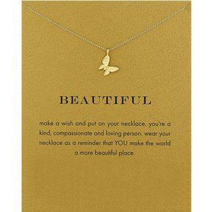 Romantic Butterfly Pendant Necklace Women Simple Clavicle Chain Choker Necklaces Valentine's Day Gift Yellow Card