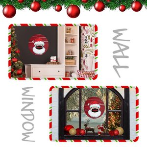 21 * 21 cm Güzel Noel Sticker Yaratıcı Karikatür Yuvarlak Gösterisi Pencere Cam Çıkartmalar Xmas Santa Claus Atmosfer Çıkartmalar EWA2375