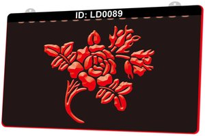 LD0089 r Flower Coming Up Roses 3D Engraving LED Light Sign 9 Colors Wholesale Retail Free Design