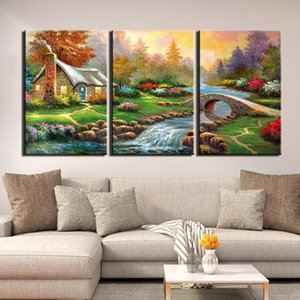 3 Piece Wall Art Pictures Sunset Village Bridge House Scenery Canvas Print Modern Art Posters For Living Room Home Office Decor