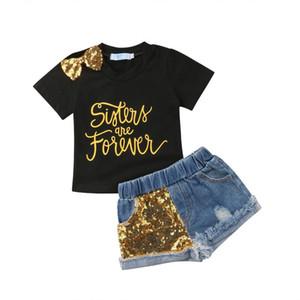 Summer Toddler Kids Baby Girl Letter Print T-shirt Tops+Sequins Denim Shorts Jeans 2PCS Outfits Children Clothing Set