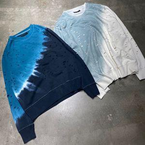 Hot Sale Trend Holes Tie-dyed Winter Spring Gradient Vintage O-Neck Long Sleeve Street Pullover Sweatshirts Fashion Sweater Men Women