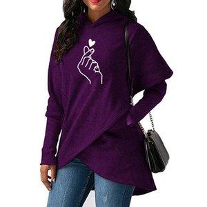 Women Hoodies Sweatshirts Casual Tops Love Hand Print Long Sleeve Pullover Hoodie Female Plus Size Warm Hooded Sweatshirt 201020