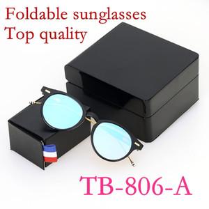 خمر ريترو الجودة طوي النظارات الشمسية نمط جولة ثوم Tb806 الإطار سبائك طلاء لين المرأة الرجل موضة حالة الأصل