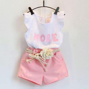 Fashion Pink Ropa Set para ropa de ropa Set Traje con cinturón de flores Ropa para niños Ropa al por menor Ropa de bebé Set YHM743
