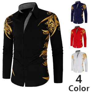 Men's creative brand new long sleeve vacation short sleeve leisure fashion gilding printing personal character business shirt