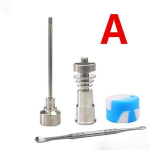 Venta al por mayor GR2 Titanium Carbo Tapa con punta plana Dabber Titanium Nail 14-18mm Conjunto JAR SILICONO El mejor precio