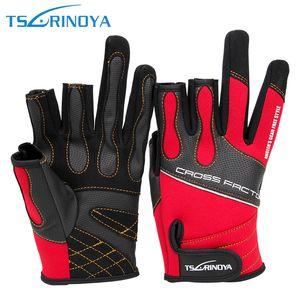 Tsurinoya Fingerless Exposed Men&Women Breathable Fishing Gloves Anti Slip Sailboat Sailing Fishing Waterproof Hunting Gloves 201020