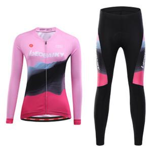 Uzun aşınma Kadın bisiklet giysileri Racing kollu bisiklet forması setleri BIB pantolon bisiklet giyim takım elbise MTB mallot elbise Kit
