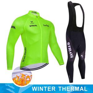 2021 Winter Thermal Fleece Ciclismo Jersey Strava Manga Larga Bike Et Roupa Ciclismo Hombre MTB Ropa de Bicicleta