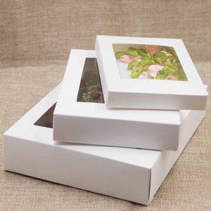 창문이있는 패키지 상자 흰색 검은 크래프트 종이 상자 PVC 창 결혼 생일 선물 패키지 상자 177 v2