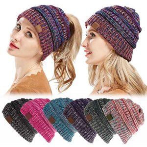INS 26 Colors Women Knitted Ponytail Caps Confetti Messy Bun Hats Winter Warm Beanies Boho Fascinator Hats Head Dress Headpieces