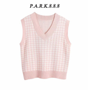 Park888 Mujeres 2020 Fashion Overseized Houndstooth chaleco chaleco suéter Vintage Sin mangas Lado Ventiladores Femenino Chaleco CHIC TOPS