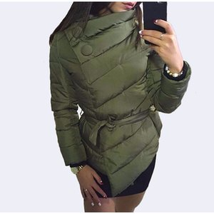 Autumn and Winter Single Breasted Women'S Casual fashion Thin Short Coat High Neck Sashes Button Coats Warm Sashes Jacket 201023